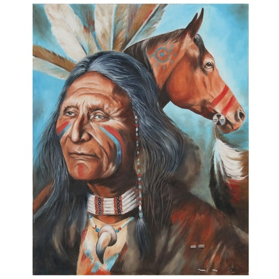 Oil Painting of Native American Man with Horse