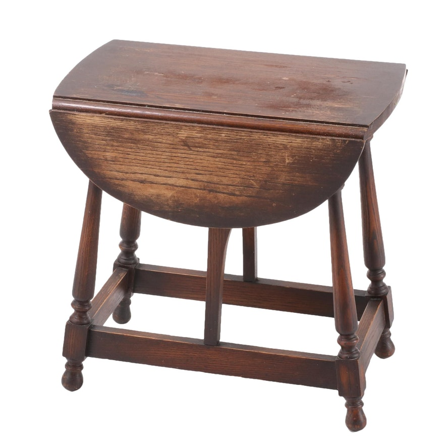 William and Mary Style Oak Drop-Leaf Side Table