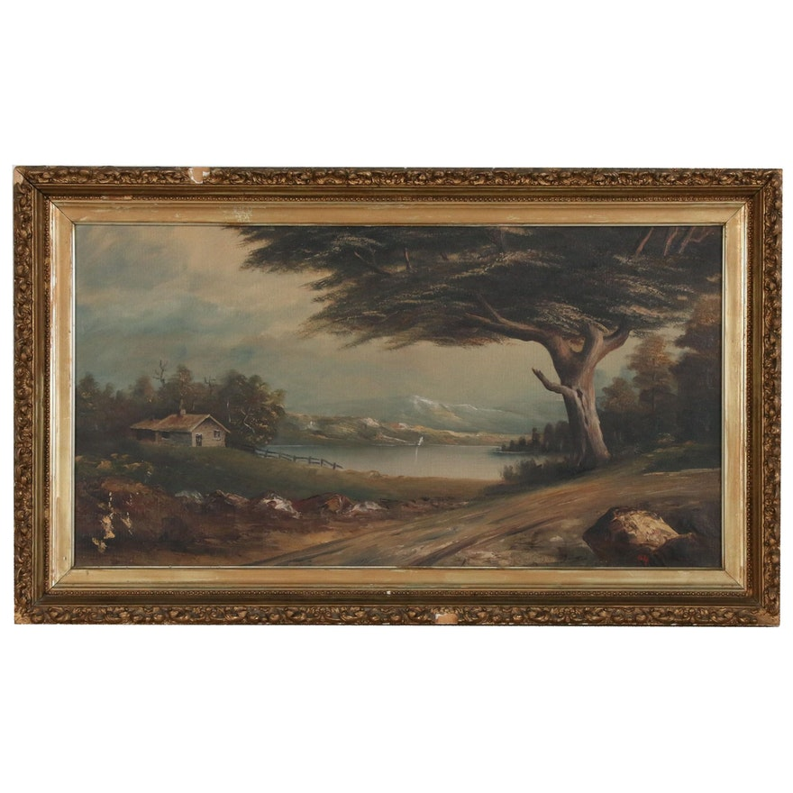 Landscape Oil Painting of Mountain Lake with Cabin, Early 20th Century