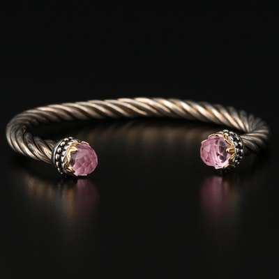 Sterling Silver Cuff Bracelet with Pink Glass End Accents