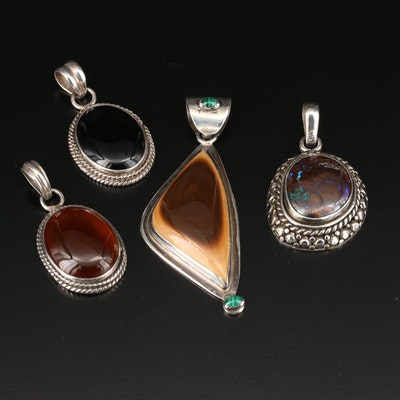Sterling Silver Gemstone Pendants Including Vintage Vincent