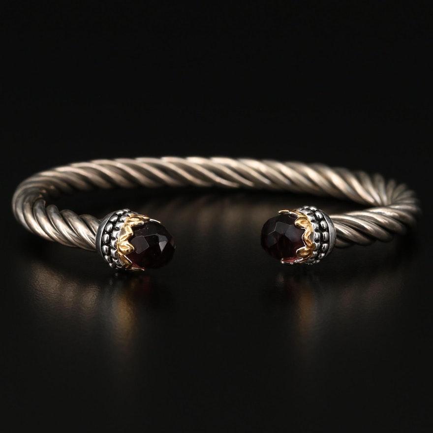 Sterling Silver Glass Cuff Bracelet