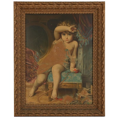 """Chromolithograph after Émile Munier """"What Will Mama Say?"""""""