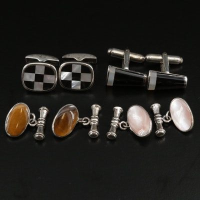 Sterling Silver Tiger's Eye, Black Onyx and Mother of Pearl Cufflinks