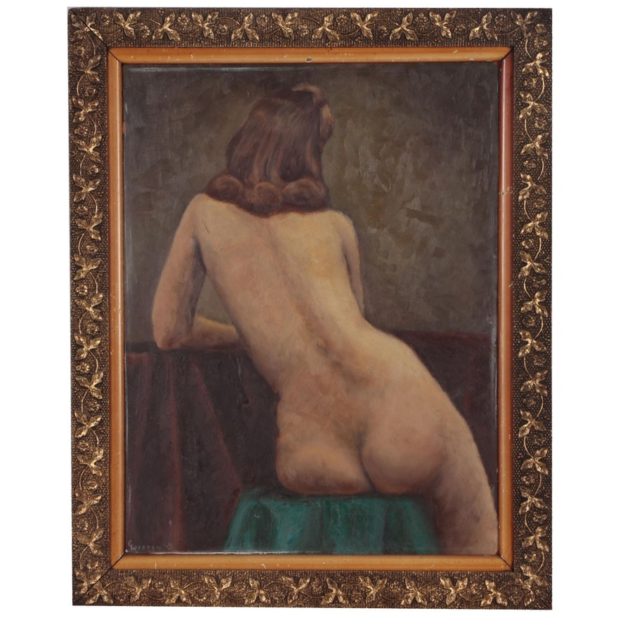 C. Weston Figure Oil Painting of Seated Female Nude, Late 19th Century