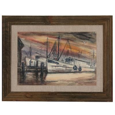 "Tom Lane Nautical Watercolor Painting ""Gulf Coast"""