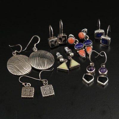Assorted Sterling Silver Earrings Featuring Jerome Begay Navajo Diné