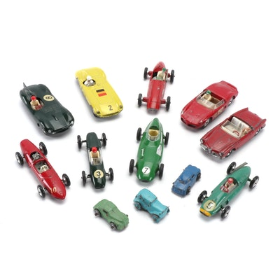 Solido Auto Racing Slot and Corgi Diecast Cars, Mid-20th Century