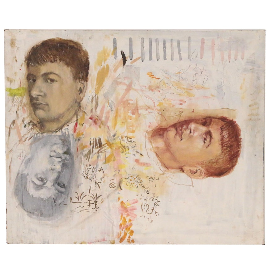 Oil Portrait Sketches, Mid to Late 20th Century