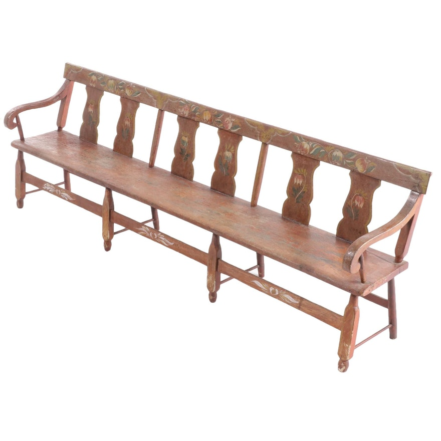 American Primitive Painted Wood Long Bench, Mid 19th Century