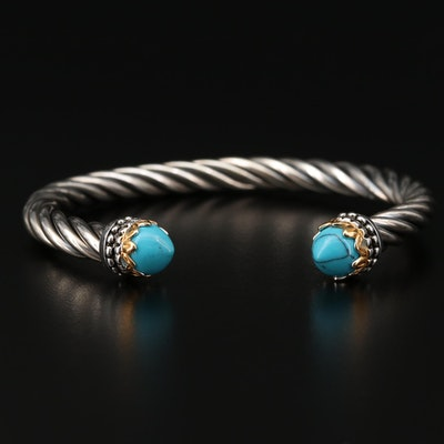 Sterling Silver Imitation Turquoise Cuff Bracelet