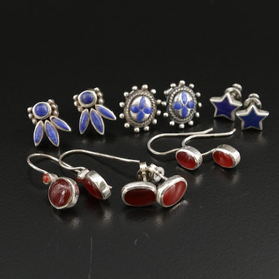 Sterling Silver Lapis Lazuli and Carnelian Earring Assortment