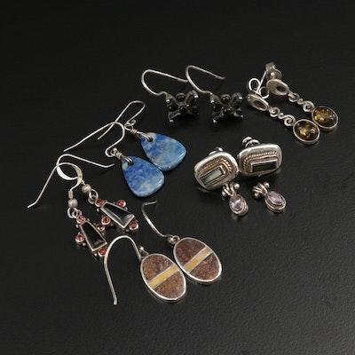 Vintage Southwestern Sterling Silver Gemstone Dangle Earrings Including Garnet