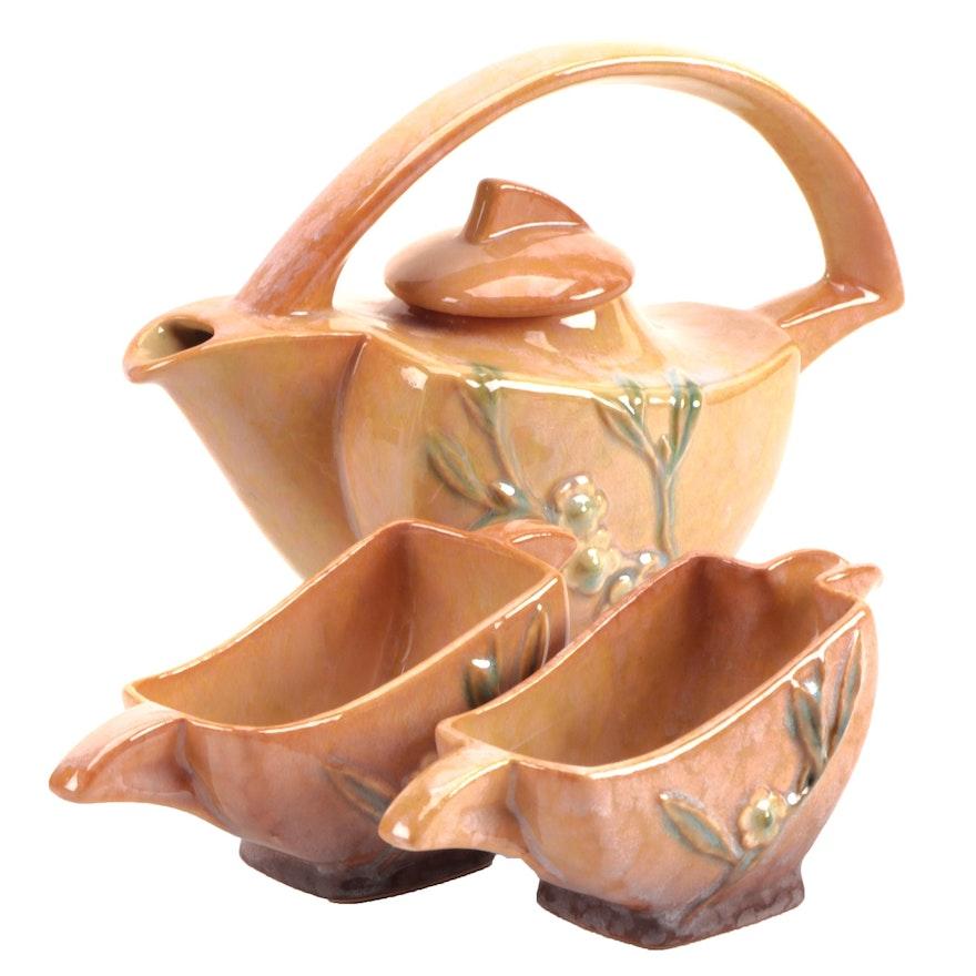 "Roseville Pottery ""Wincraft"" Tea Pot, Sugar, and Creamer, Mid-20th Century"