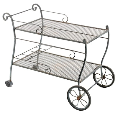 Wire Mesh Patio Serving Cart, Mid to Late 20th Century