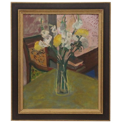 Modernist Floral Still Life Painting, Early to Mid 20th Century
