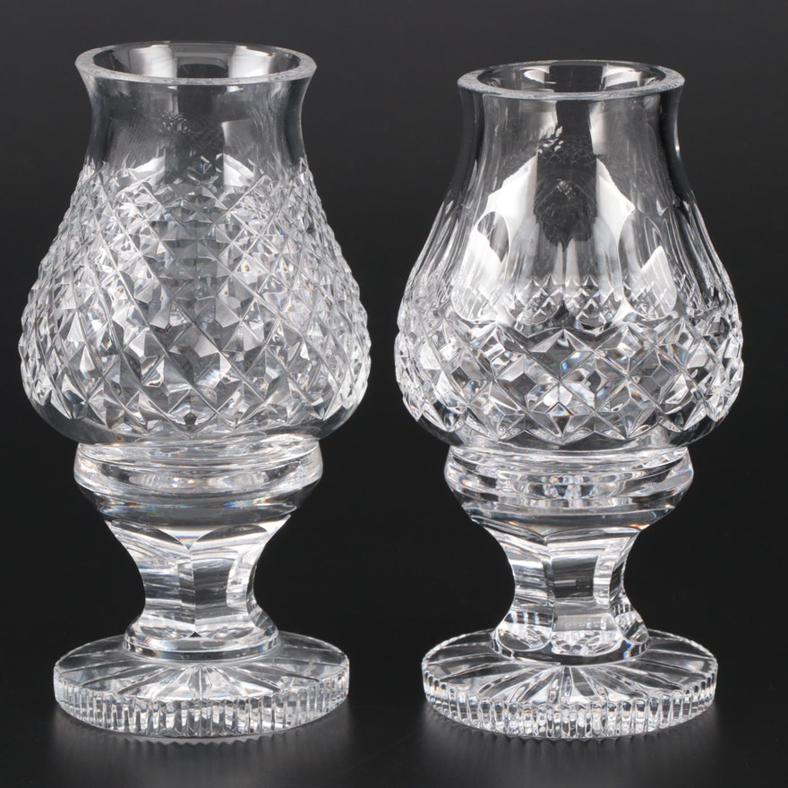 """Waterford Crystal """"Alana"""" and """"Colleen"""" Hurricane Lamp Candle Holders"""