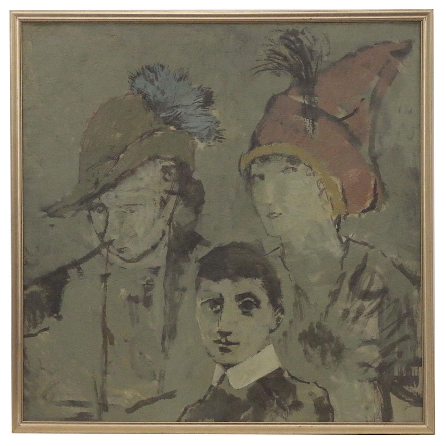 Modernist Family Portrait Oil Painting, Early to Mid 20th Century