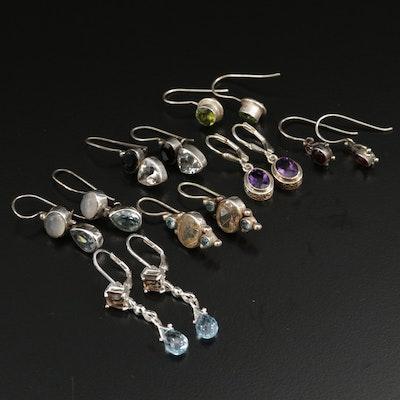 Vintage Sterling Silver Gemstone Dangle Earrings Including Sajen