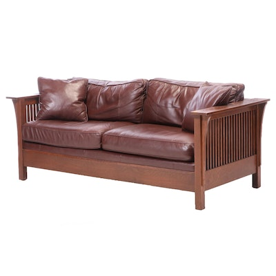 Stickley Arts & Crafts Oak and Leather Sofa