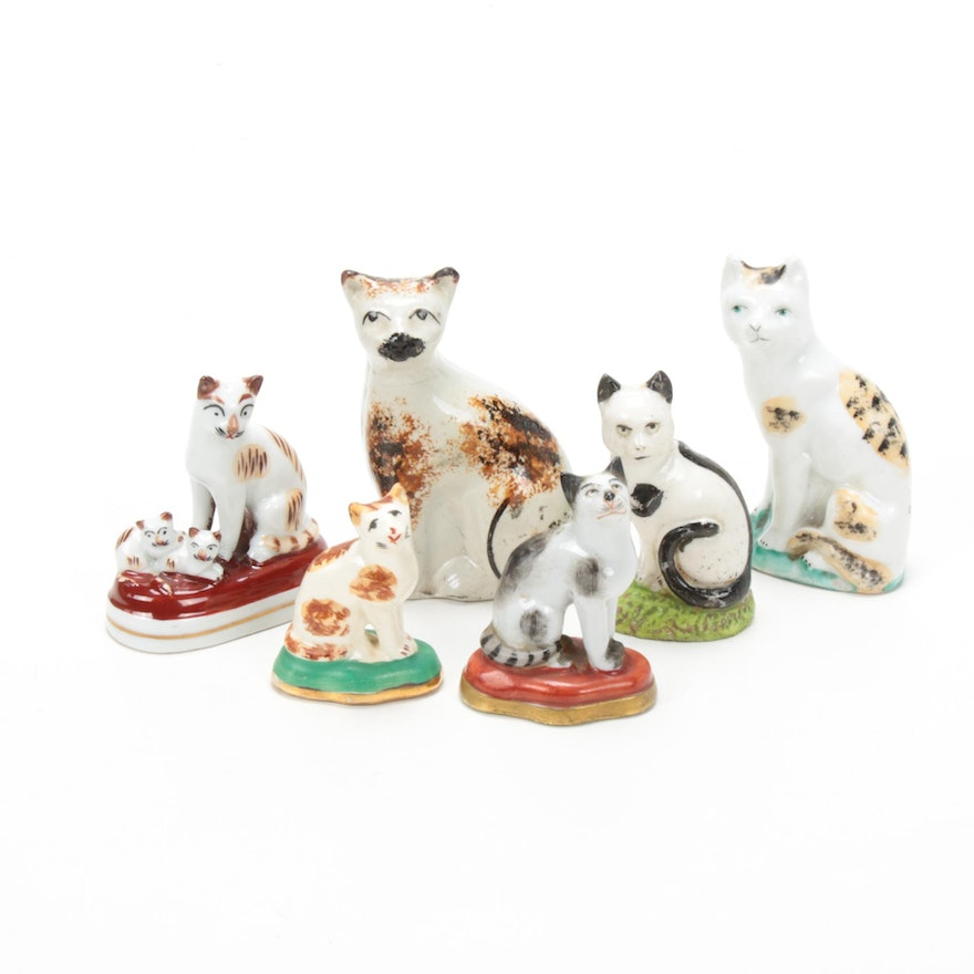 Staffordshire, Chelsea and Sampson Style Cat Figurines