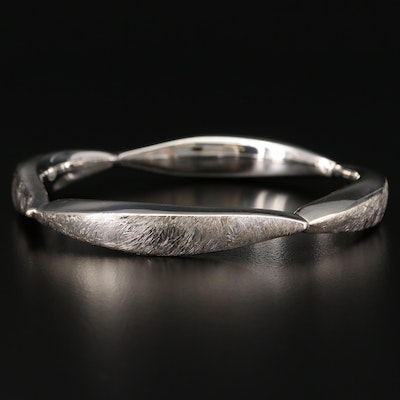 Sterling Silver Ribbon Motif Bangle Bracelet with Textured Finish
