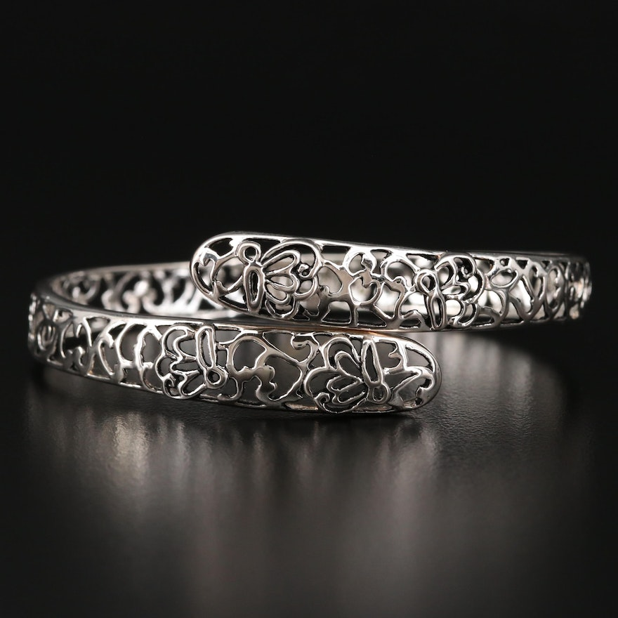 Sterling Silver Open Work Hinged Bypass Bangle Bracelet