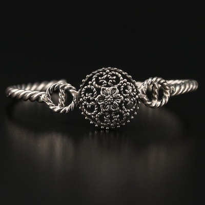 Sterling Silver Twisted Flower Cuff