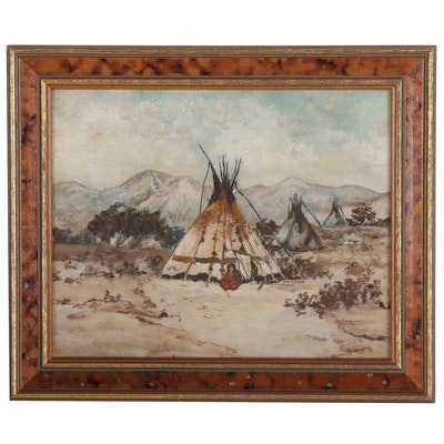Landscape Oil Painting with Tipis