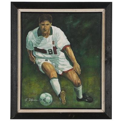 R. Kingman Oil Painting of Soccer Player