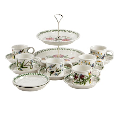 "Portmeirion ""The Botanic Garden"" Tiered Cake Stand with Cups and Saucers"