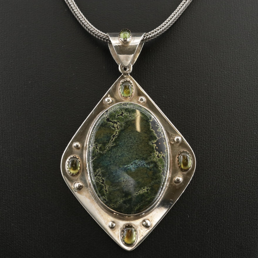 Southwestern Style Sterling Turquoise and Peridot Pendant Necklace