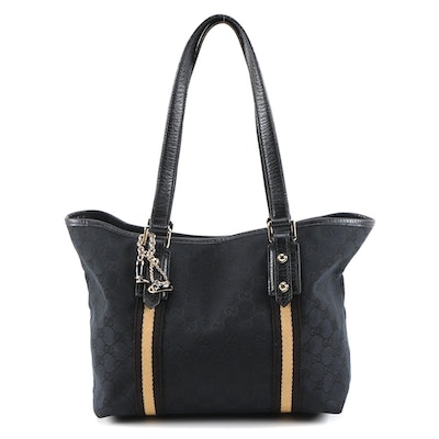 Gucci Jolicoeur Black GG Canvas and Leather Shoulder Tote