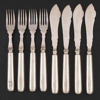 Edward Hartmann of Munich Silver Plate Fish Cutlery Set, Early/Mid 20th Century