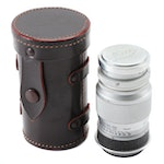 Leica Leitz Elmar 9cm f/4 Camera Lens with Leather and Plastic Cases