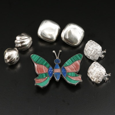Sterling Silver Jewelry Selection With Butterfly Brooch and Gemstone Accents