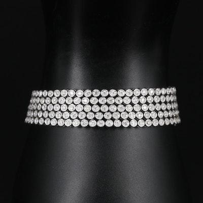 14K White Gold 3.60 CTW Diamond Multi-Strand Bracelet