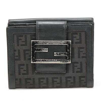 Fendi Black Monogram Canvas and Leather Bifold Wallet