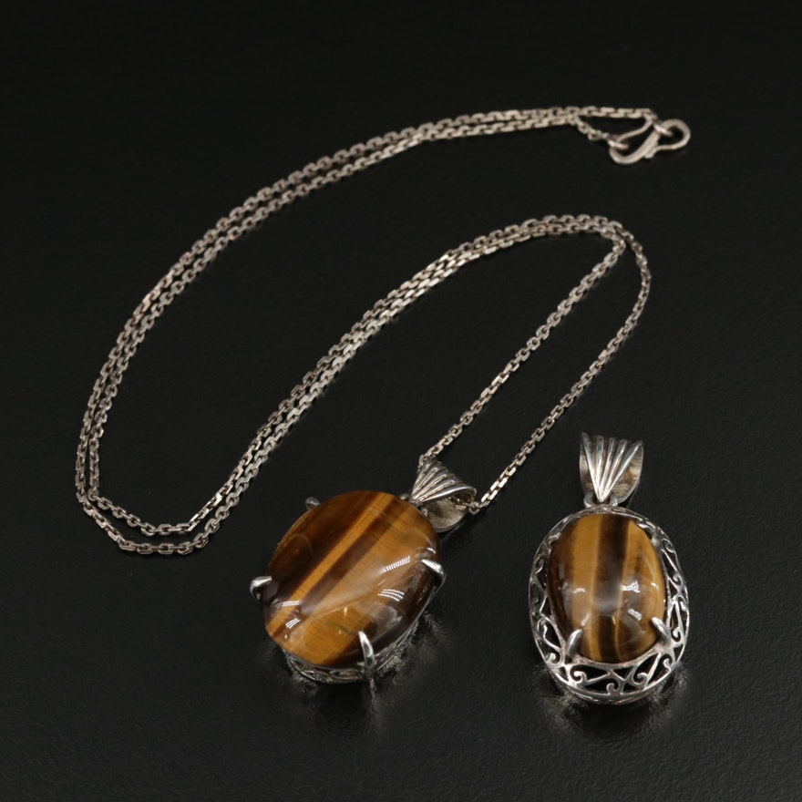 Sterling Silver Tiger's Eye Pendant and Pendant Necklace