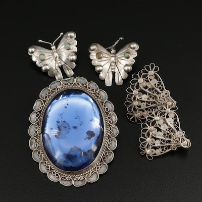 Vintage Sterling Silver Glass Converter Brooch With Turquoise Butterfly Pin