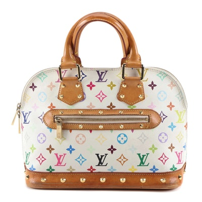 Louis Vuitton Alma PM Bag in White Monogram Multicolore Canvas and Leather