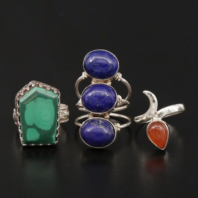 Southwestern Sterling Silver Rings with Carnelian, Malachite and Lapis Lazuli
