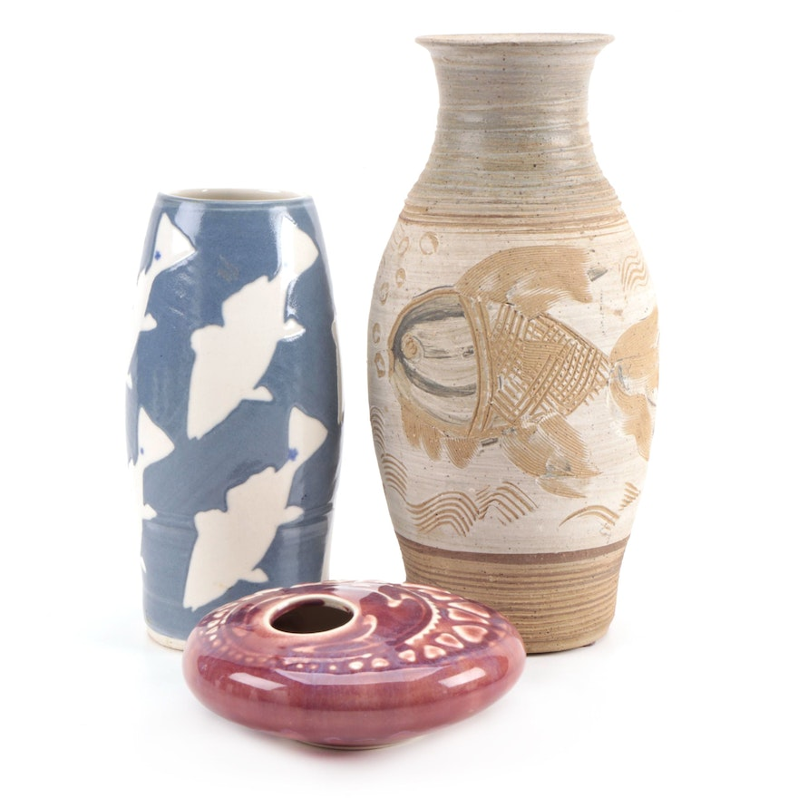 Artisan Made Ceramic Vases and Floral Frog