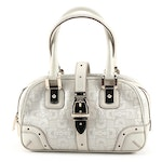 Gucci Horsebit Embossed Off-White Leather Handbag with Gold Tone Buckle Strap