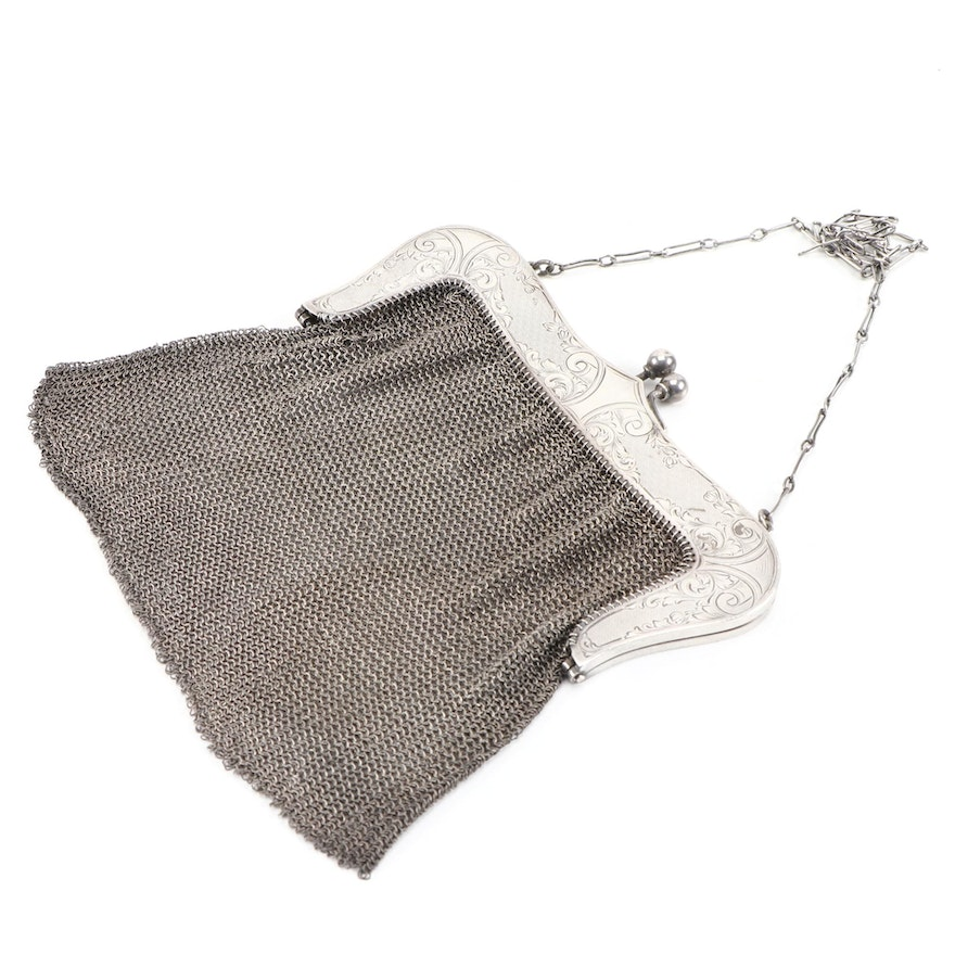 Sterling Silver Etched Frame Chainmail Mesh Evening Bag, Early 20th Century