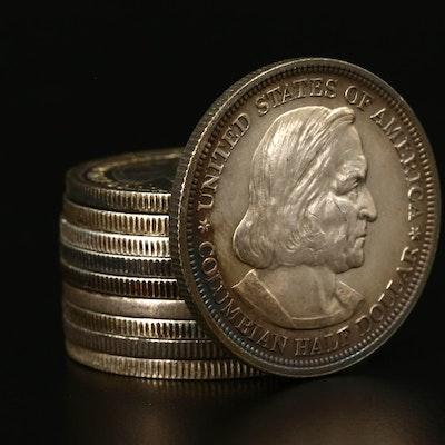 Ten 1893 Columbian Exposition Silver Commemorative Half Dollars