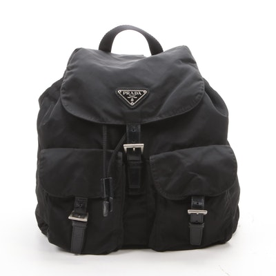 Prada Black Tessuto Nylon and Leather Backpack Purse