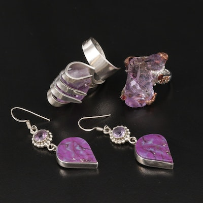 Sterling Silver Amethyst, Garnet and Turquoise Jewelry
