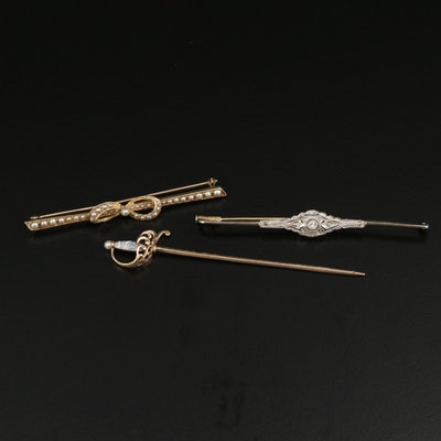 Edwardian Platinum, 18K and 14K Gold Brooches and Pin With Pearl and Diamonds