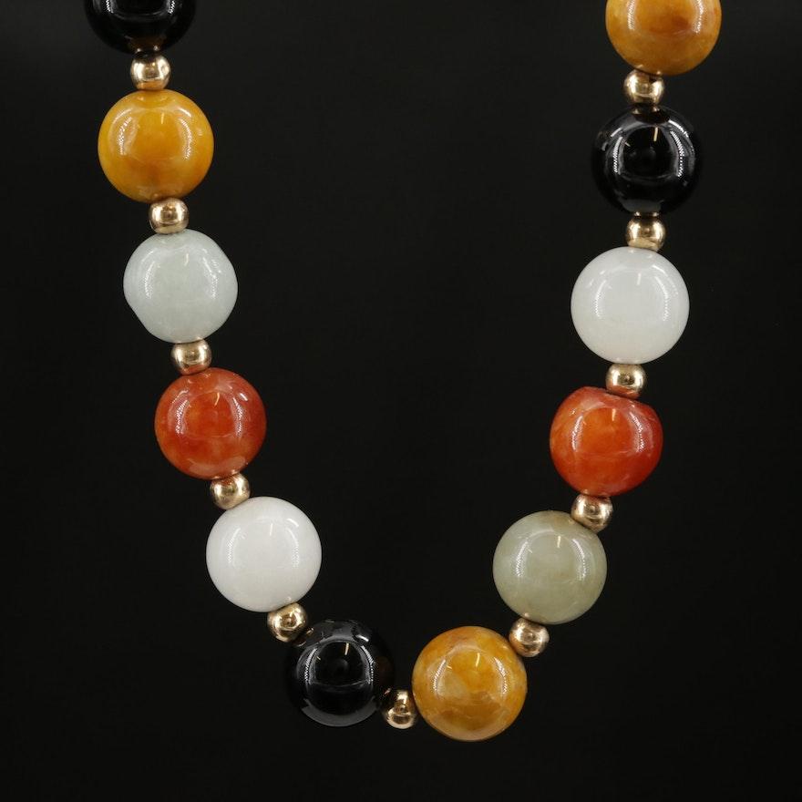 14K Yellow Gold Jadeite and Black Onyx Beaded Necklace
